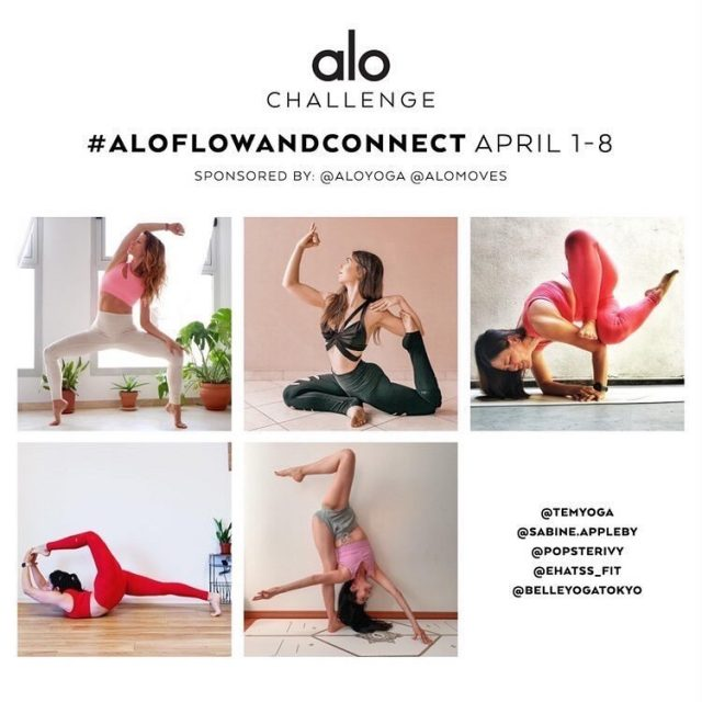 💪🧘🏻‍♀️🎉#AloFlowAndConnect | April 1-8 🎉🧘🏻‍♀️💪  We give you 3 yoga inspired poses each day. You can create your own flow by connecting the poses in any order, or copy one of the hosts' videos for inspiration.  Post the flow either with a 15-30 second video (Instagram Reels/TikTok) or in a collage/album of photos.  3 hosts will post on Instagram Reels/Feed and on TikTok the day before each day. The other 2 hosts will post photo collages or videos on Instagram.  We will also provide alternatives for more accessible fun!  Extra points for creativity and pizzazz! And remember to honor your body and have fun; not all hosts can do all poses and will modify as we need.  🦋Poses/flows: 1. Shoulder stand - pistol squat - warrior or dancer (alternative: forward fold - eagle - warrior 3) 2. Standing hand to big toe - supine splits - front splits (alternative: High Lunge - Half splits - Splits) 3. Forward fold - firefly - EPK  4. Skandasana - straddle splits - front splits (alternative: skandasana - goddess - half split) 5. Forward fold - Boat - (optional lolasana) jump back to chaturanga 6. Compass - twisted lunge - headstand or super soldier 7. Inversion of choice - wheel - thread the needle (alternative: Down dog - marichyasana C - wheel) 8. Yogi's choice of 3-pose flow  🦋Hosts: @belleyogatokyo  @ehatss_fit  @popsterivy @sabine.appleby  @temyoga   🦋Sponsors @aloyoga @alomoves  Prizes: $100 @aloyoga gift card and 6 months subscription to @alomoves  👯How to Participate: 1. Follow all hosts and sponsors 2. Repost the flyer to your page and tag a few friends 3. Look to the hosts' pages for daily pose inspiration 4. Post daily using #AloFlowAndConnect and don't forget to tag your hosts and sponsor in the caption 5. Have fun and make sure your profile is set to public so we can see your posts in the gallery!  #aloyoga #aloyogachallenge #alomoves #alochallenge
